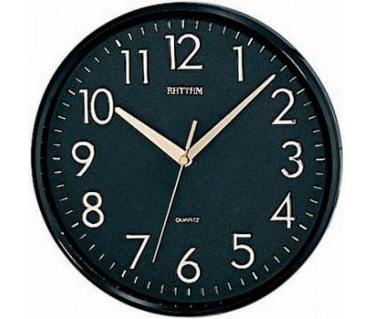Rhythm Plastic case round clock with 3D Numerals, Silent silk move wall clock