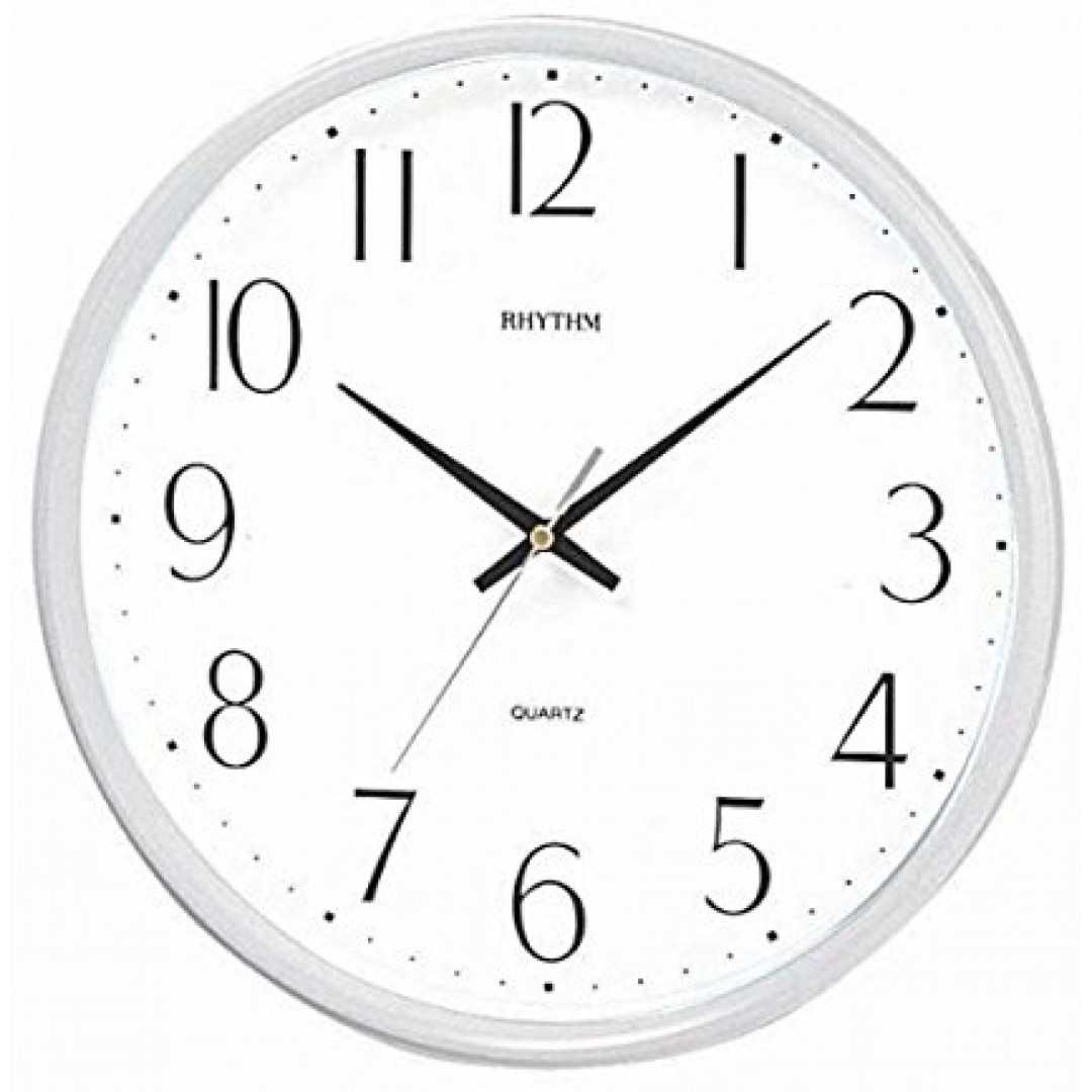 Rhythm Pearl white basic wall clock